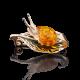 """Брошь """"Улитка"""" с янтарем из золота арт. 04-0155-00-271-1110-46, Платина"""