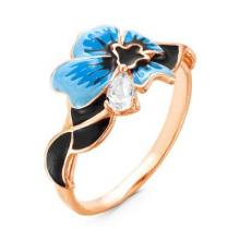 2388203-3 Кольцо синий цветок из позолоченного серебра с эмалью и фианитом, Красная Пресня