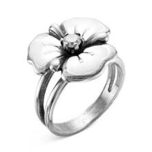 2388610 Кольцо белый цветок из оксидированного серебра с эмалью и фианитом, Красная Пресня