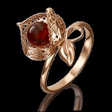 """Кольцо """"Физалис"""" из золота с янтарем и эмалью арт. 01-5074-00-271-1110-58 , Платина Кострома"""