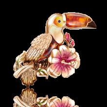 "Брошь в виде птицы ""Тукан"" из золота 04-0184-00-271-1110-46, Платина Кострома"