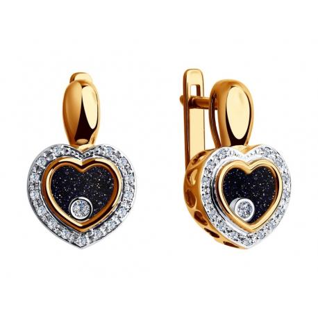 1021169 Серьги-сердце с бриллиантами Sokolov