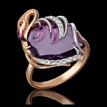 """Кольцо из золота с аметистом """"Фламинго"""" 01-5287-00-225-1110-46, Платина Кострома"""