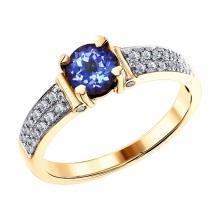 Кольцо 6014098 с танзанитом и бриллиантами из золота 585 пробы SOKOLOV
