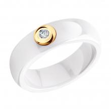 6015028 Кольцо из белой керамики с красным золотом 585 пробы и бриллиантом SOKOLOV Jewelry