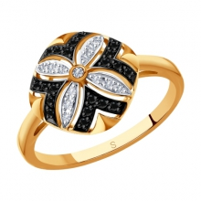 7010048 Кольцо с черными и бесцветными бриллиантами из золота 585 пробы SOKOLOV