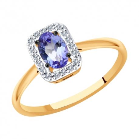 6014132 Кольцо с танзанитом и бриллиантами из золота 585 пробы SOKOLOV