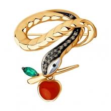 6047001 Брошь из золота с бриллиантами Sokolov