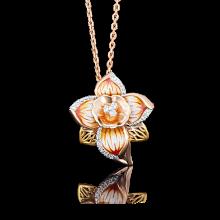 """Подвеска """"Нарцисс"""" из золота с эмалью арт. 03-2555-00-401-1113-48, Платина"""