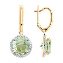 727096 Серьги из золота с зеленым аметистом, SOKOLOV