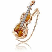 """Брошь """"Скрипка"""" из золота с янтарем арт. 04-0208-00-271-1110-58, Платина"""