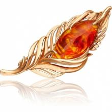 Брошь из красного золота с янтарем 04-0217-00-271-1110-46, Платина Кострома