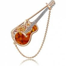"""Брошь """"Гитара"""" из золота с янтарем арт. 04-0203-00-271-1110-58, Платина"""