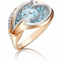 Кольцо из золота с голубым топазом, Платина Кострома