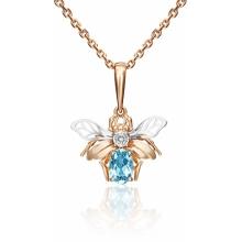 Подвеска из золота с голубым топазом, Платина Кострома