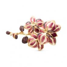 """0063-05 Брошь """"Орхидея"""" из золота с эмальюи розовыми сапфирами, завод """"БРИЛЛИАНТЫ КОСТРОМЫ"""""""
