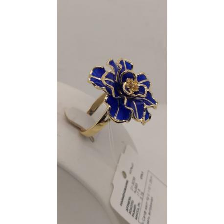 """3036-01 Кольцо из золота с синей эмалью и сапфиром, завод """"БРИЛЛИАНТЫ КОСТРОМЫ"""""""
