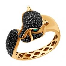 3010580 Кольцо из золота с изумрудом и черными бриллиантамиSOKOLOV