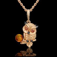 Подвеска из золота с янтарем и эмалью, ЮЗ Платина