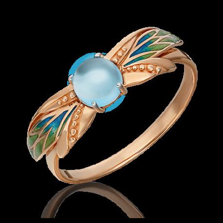 Кольцо из золота с топазом и эмалью, ЮЗ Платина