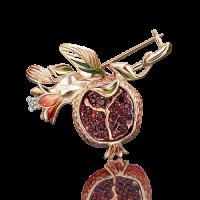 """Брошь """"Гранат"""" из золота с эмалью арт. 04-0186-00-204-1110-57, Платина Кострома"""