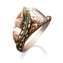 """Кольцо """"Ящерица"""" из золота с эмалью арт. 01-5030-00-000-1110-59, ПЛАТИНА КОСТРОМА"""