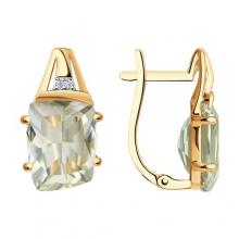 727813 - Серьги из золота с зеленым аметистом - SOKOLOV