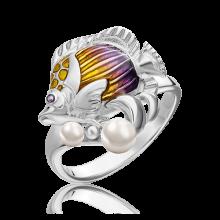 Кольцо из серебра с эмалью и жемчугом- ЮЗ Платина