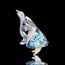 Брошь из серебра с эмалью и топазом - ЮЗ Платина