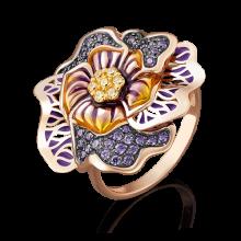 Кольцо-цветок из золота с эмалью арт. 01-4872-00-404-1110-65, Платина