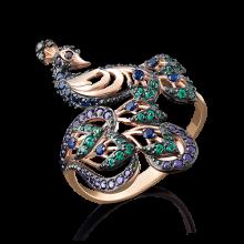 Кольцо павлин из золота арт. 01-4917-01-404-1110-52, Платина