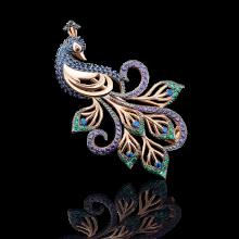 """Брошь """"Павлин"""" из золота арт. 04-0120-03-404-1110-52, Платина"""