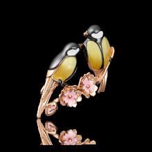 """Брошь """"Птички"""" из золота арт. 04-0156-00-000-1110-48, Платина"""