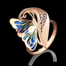 """Кольцо """"Бабочка"""" из золота с эмалью арт. 01-4903-00-000-1110-48, Платина"""