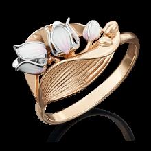 """Кольцо """"Ландыш"""" из золота с эмалью арт. 01-5021-00-000-1111-59, Платина"""