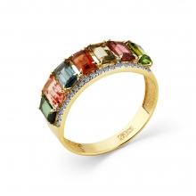 1-308380-00-60 Кольцо из золота с турмалином, МАСТЕР БРИЛЛИАНТ