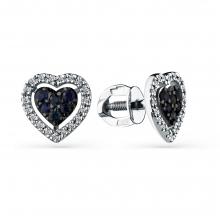 """2-202038-00-55 Серьги из золота с черным бриллиантом """"Сердце"""", МАСТЕР БРИЛЛИАНТ"""
