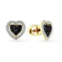 """2-302134-00-55 Серьги из золота с черным бриллиантом """"Сердце"""", МАСТЕР БРИЛЛИАНТ"""