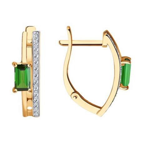 6024250 Серьги из золота с турмалином и  бриллиантами - SOKOLOV
