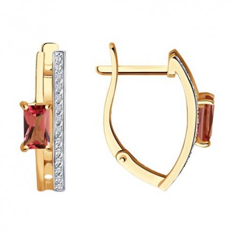 6024259 - Серьги из золота с турмалином и  бриллиантами - SOKOLOV