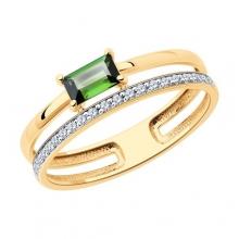 6014211 - Кольцо из золота с турмалином и  бриллиантами - SOKOLOV
