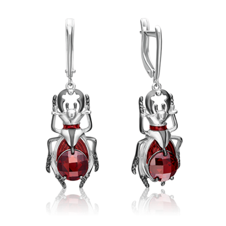 Серьги из серебра с эмалью и гранатом - PLATINA