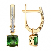6024235 Серьги из золота с турмалином и  бриллиантами - SOKOLOV