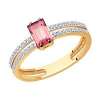 6014210 Кольцо из золота с турмалином и  бриллиантами - SOKOLOV