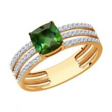 6014214 Кольцо из золота с турмалином и  бриллиантами - SOKOLOV