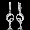 Серьги из белого золота с бриллиантом - PLATINA Jewelry