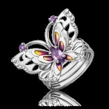 Кольцо из серебра с аметистом и эмалью - ЮЗ Платина
