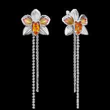 Серьги из серебра с цитрином и эмалью - PLATINA Jewelry