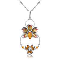 Подвеска из серебра с цитрином и эмалью - PLATINA Jewelry
