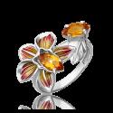 Кольцо из серебра с цитрином и эмалью - PLATINA Jewelry